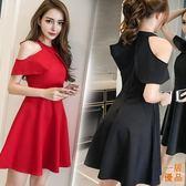 洋裝連身裙裝韓版裙子時尚名媛氣質露肩短款收腰小禮服連身裙女