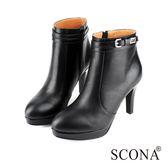 SCONA 全真皮 簡約環扣高跟短靴 黑色 8774-1