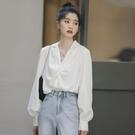 女襯衫 法式復古白色長袖襯衫女2021年春秋新款設計感小眾心機褶皺上衣潮【快速出貨國慶八折】