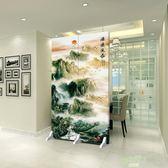 屏風 中式衛生間廁所客廳屏風隔斷隔墻小戶型家用折疊移動動態布藝推拉  快速出貨