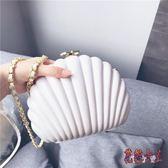 宴會包 復古港風貝殼珍珠白色包單肩斜跨手拿包 BF9298【花貓女王】