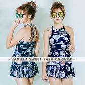 削肩美背遮肚顯瘦 + 蛋糕褲裙兩件式泳衣組 Summer Girl - 香草甜心