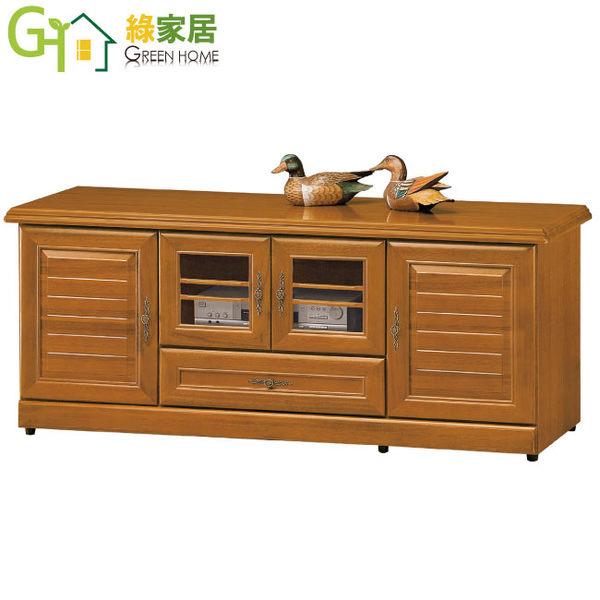 【綠家居】南斯 樟木色5尺實木四門電視櫃/收納櫃