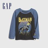 Gap男幼童 DC英雄主題圓領長袖休閒T恤 617944-炭灰色