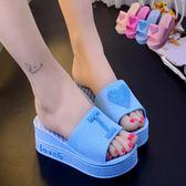 鬆糕厚底涼拖鞋女夏季時尚高跟坡跟