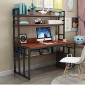 家用台式電腦桌學生學習桌寫字桌辦公寫字台宿舍雙人寫字桌帶書架【快速出貨】