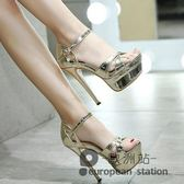 魚口涼鞋/12cm高跟細跟夜店防水台漆皮一字帶性感銀色超高跟女鞋夏「歐洲站」