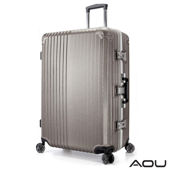 AOU 絕美時尚升級版 29吋PC防刮亮面飛機輪鋁框旅行箱(香檳金)90-021A