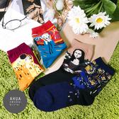 現貨✶正韓直送【K0064】韓國襪子 經典名畫中筒襪 韓妞必備 百搭基本款 素色長襪 阿華有事嗎
