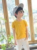 左西男童t恤短袖夏裝新款兒童純棉竹節棉粉色夏季中大童潮衣 伊衫風尚