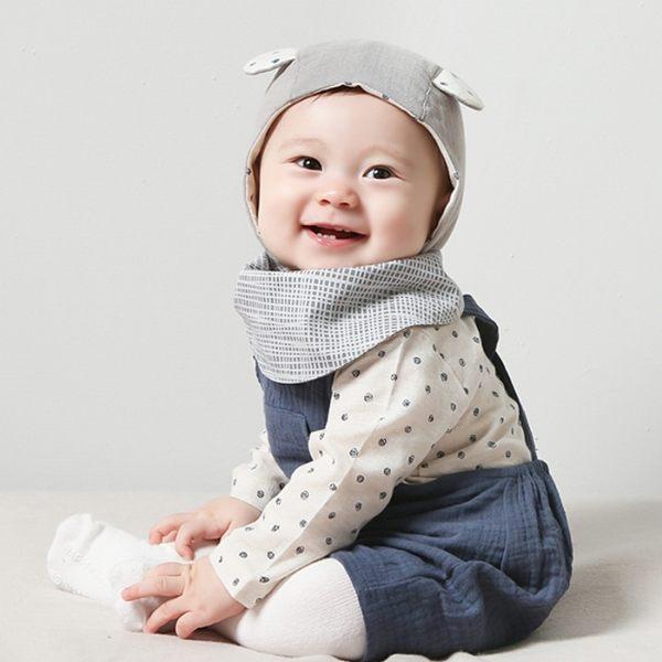 韓國 HAPPY PRINCE 貓咪臉雙面兩用圍兜領巾 - 棕色 / 深咖啡米