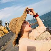 韓版可折疊手工大沿草帽女度假防曬太陽帽遮陽帽子  伊莎公主