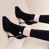 裸靴小跟短靴女加絨細跟馬丁靴新款高跟鞋秋冬瘦瘦靴網紅尖頭裸靴 小天使