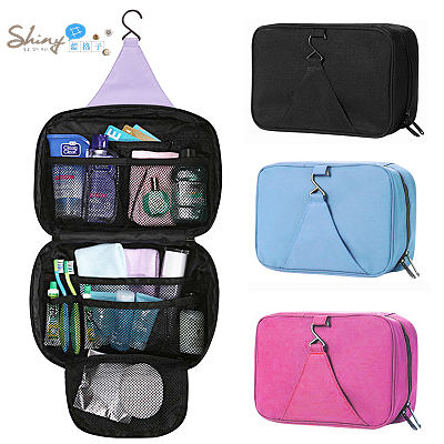 【40A83】shiny藍格子-實用推薦.世界地標圖案大容量旅行用外掛式洗漱收納包