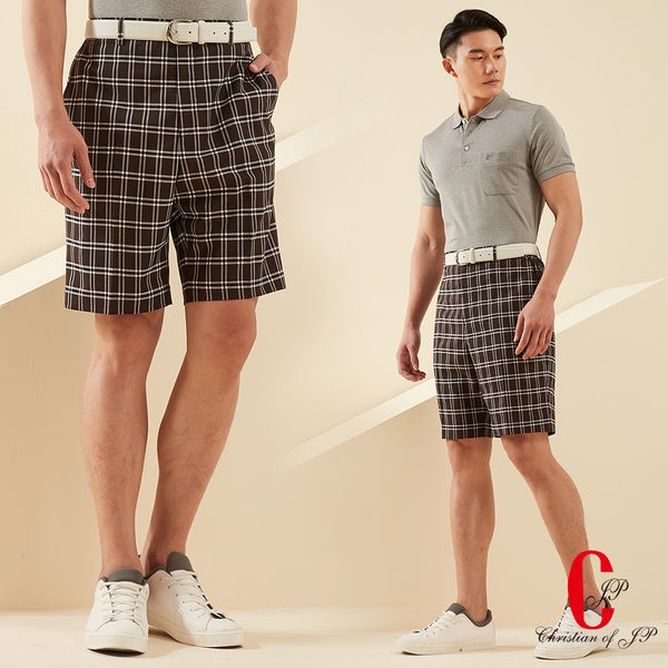 Christian 英倫風範格紋休閒短褲 灰藍格(CS608-1)