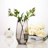 歐式插花恐龍蛋造型花器簡約彩色玻璃花瓶客廳裝飾品擺件   伊芙莎