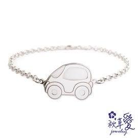 《 SilverFly銀火蟲銀飾 》純銀彌月刻字手鍊「交通寶寶系列」噗噗車-Ailsa秋草愛