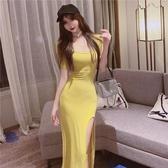 夏季性感修身高收腰連衣裙修身歐美顯身材性感開叉長裙子
