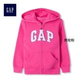 Gap女幼童 Logo簡潔動感風格連帽長袖休閒外套 632530-亮玫粉