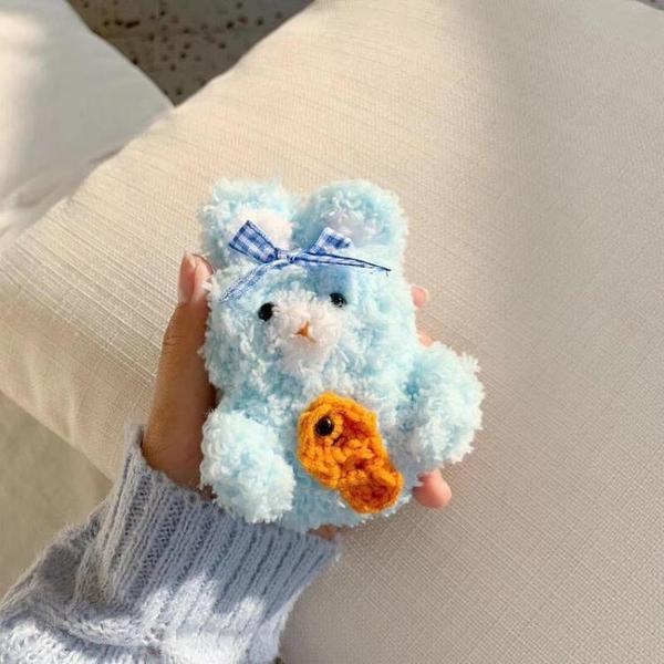 絨毛兔子airpods保護套防摔可愛兔子airpods保護套防塵韓國蘿蔔兔子Airpods蘋果耳機套 露天拍賣