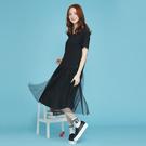 純棉素面面料剪接搭配異材質裙襬拼接輕盈網紗,展現甜美氣質!