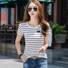 中大碼T恤短袖上衣夏季韓版修身螺紋圓領短袖t恤女上衣潮H350-C.1號公館