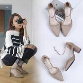 夏季新款韓版一字扣帶高跟鞋粗跟女尖頭單鞋女工作鞋女學生鞋  檸檬衣舍