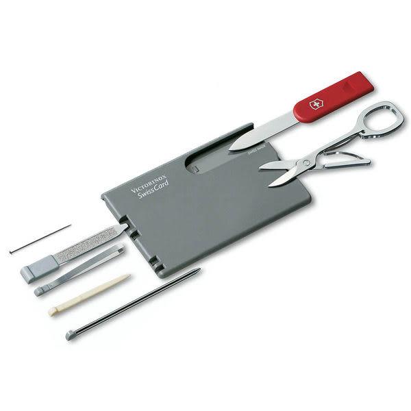 瑞士 維氏 Victorinox 瑞士卡 瑞士刀10種功能 0.7106 灰色紅柄【適用商務人士、上班族】  露營│登山