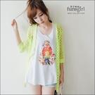 網狀大洞洞五分袖針織外罩衫-5色~funsgirl芳子時尚