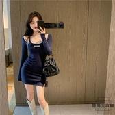 掛脖吊帶長袖連身裙女性感緊身包臀短裙【時尚大衣櫥】