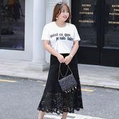中大尺碼~知性小香風T恤搭魚尾式裙子短袖套裝(XL~4XL)