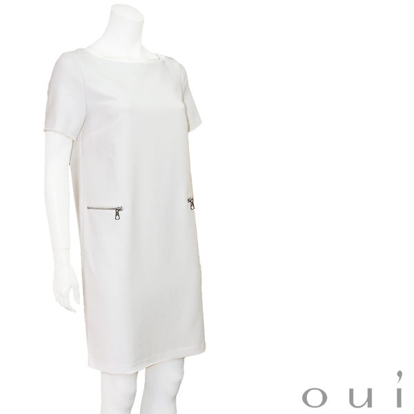 oui 白色短袖直筒洋裝(中大尺碼)