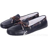 TOD'S Gommino 配色編織綁帶牛皮豆豆鞋(女/深藍色) 1520458-34