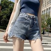 破洞牛仔短褲女夏季薄款高腰顯瘦寬鬆a字熱褲【聚物優品】