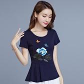 繡花T恤 民族風女裝 春夏新款 繡花 上衣棉短袖t恤女 修身大碼 中國風刺繡 M-6XL