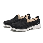 SKECHERS 休閒鞋 GO WALK 黑白 網布 透氣 寬楦 健走 懶人鞋 女(布魯克林) 124508WBKW