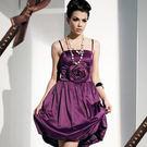 東京衣服~嬌嫩耀眼 立體玫瑰 平口花苞小禮服 深紫