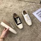 帆布鞋 韓國東大門女鞋方頭帆布鞋休閒懶人運動板鞋系帶軟底小白鞋女秋鞋-Ballet朵朵