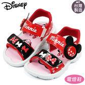 正版Disney迪士尼米妮可調整魔鬼氈側邊發亮電燈涼鞋兒童涼鞋 紅15-20號~EMMA商城