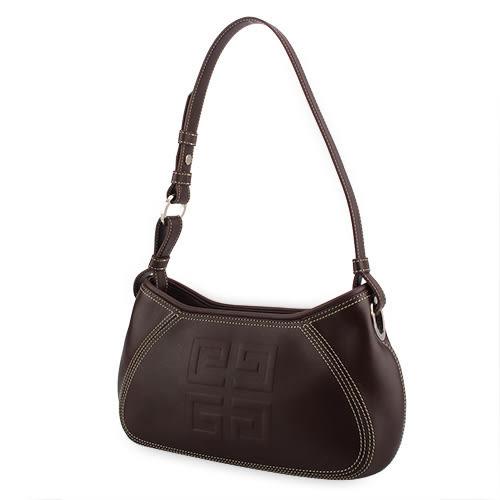 GIVENCHY HOBO 壓印LOGO精緻縫線皮革肩背包(咖啡色)910728-1