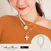 PUFII-項鏈 十字珍珠+硬幣珍珠兩件組項鏈-1029 現+預 秋【CP17443】