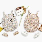 小碎花無袖吊帶包屁衣 連身衣 嬰兒服 兔裝 哈衣