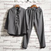 唐裝   亞麻套裝中國風男裝棉麻改良漢服居士復古裝茶服中式