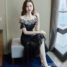魚尾連身裙夏季新款黑色一字肩蕾絲連身裙女中長款顯瘦荷葉邊年會魚尾裙