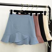 不規則魚尾半身裙女包臀裙春裝2018新款高腰荷葉邊短裙夏女