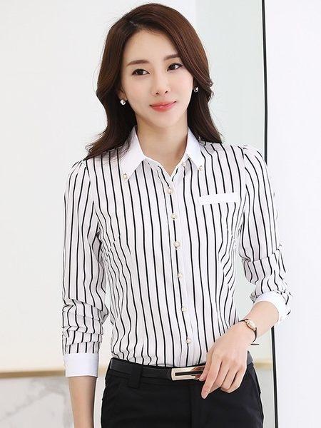 新款:上班族女裝直條紋黑白OL免燙襯衫(長袖 白底黑條)wcps31