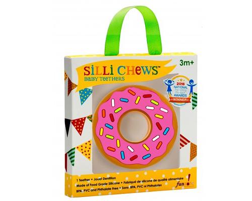 【愛吾兒】美國 SiLLi CHeWS 粉紅甜甜圈咬牙器  固齒器 美國設計 3個月以上適用