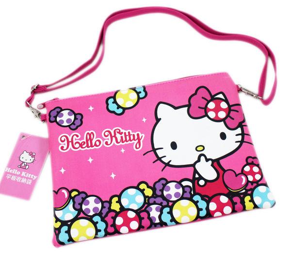 【卡漫城】 Hello Kitty 平板 斜背包 皮革 桃紅 ㊣版 多功能 拉鍊 肩背 萬用 側背包 收納袋 10吋