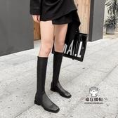 膝上靴 長靴女2019新款靴子不過膝長筒靴皮靴中筒騎士靴平底鞋高筒靴冬季