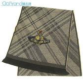 Vivienne Westwood新款斜格紋斑駁感星球LOGO羊毛圍巾(卡其色)910500-2